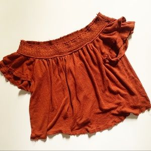 American Rag• burnt orange off shoulder crop top